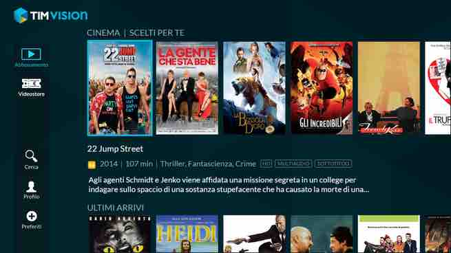 timvision homepage cinema nuovo decoder